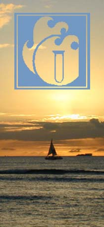 Sunset in Honolulu/AECOS logo